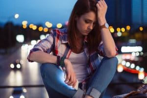 girl in city has addictive personality