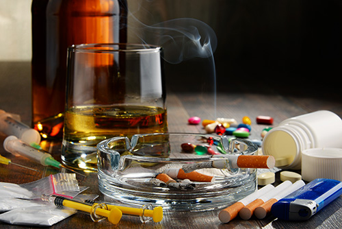A collection of drugs illustrate the signs of drug addiction